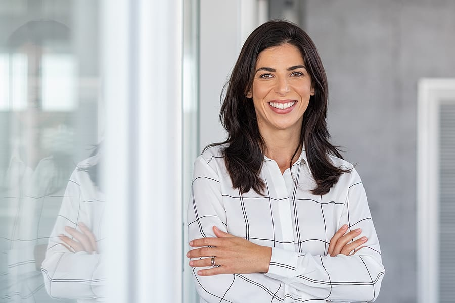 A woman happy about all of her options